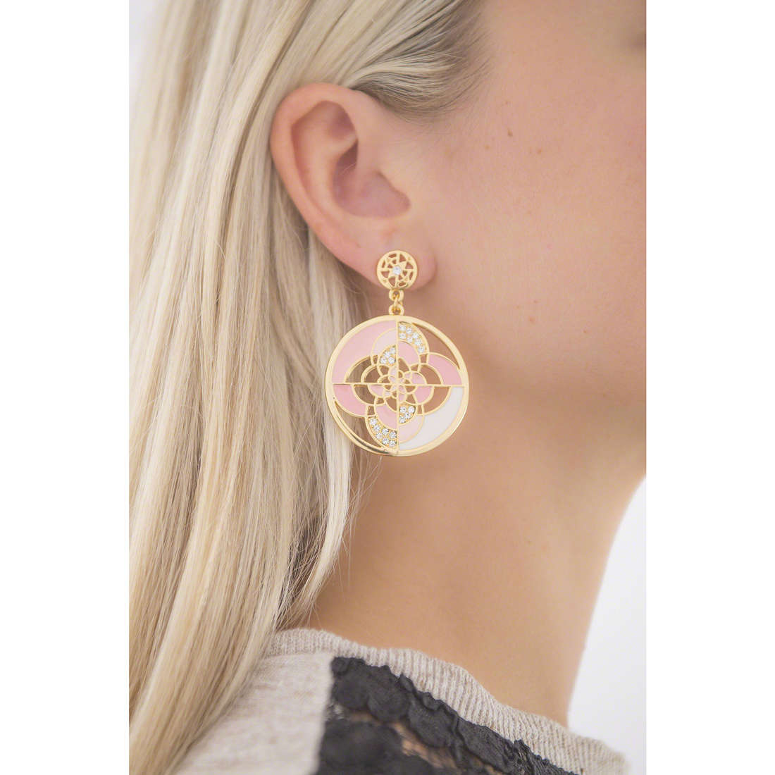 Luca Barra earrings woman LBOK686 photo wearing