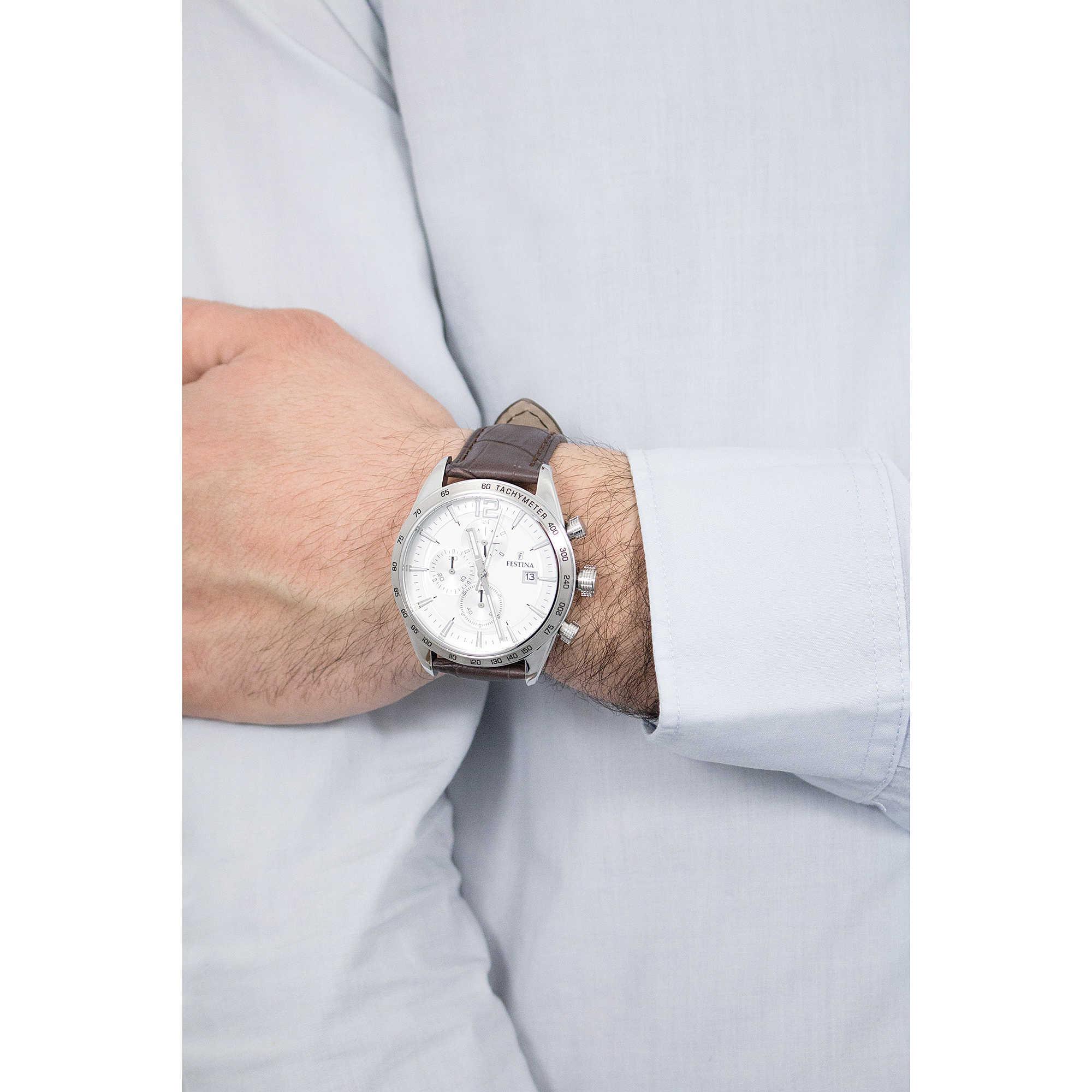 581ed85256 Festina chronographes Timeless Chronograph homme F16760/1 photo wearing.  zoom