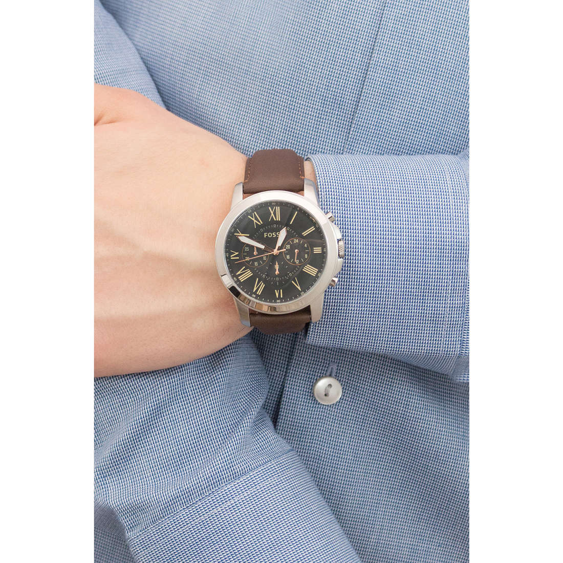 Fossil chronographes homme FS4813 indosso