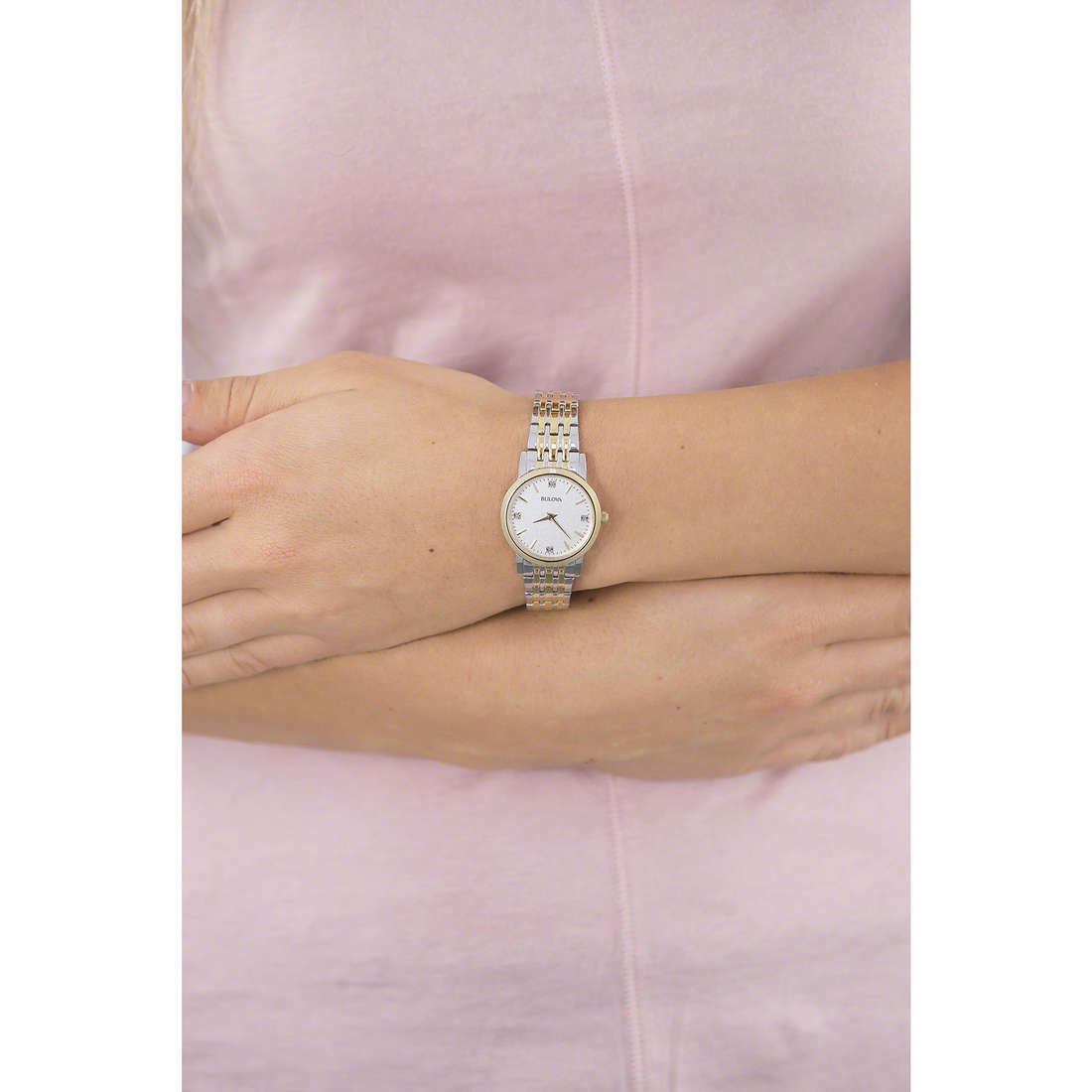 Bulova seul le temps Diamanti Duets femme 98S115 photo wearing