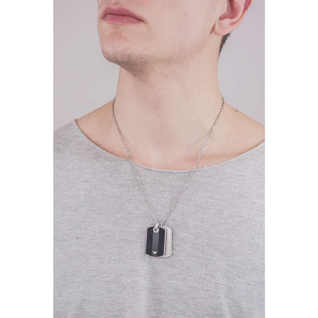 Emporio Armani necklaces man EGS1542040 indosso
