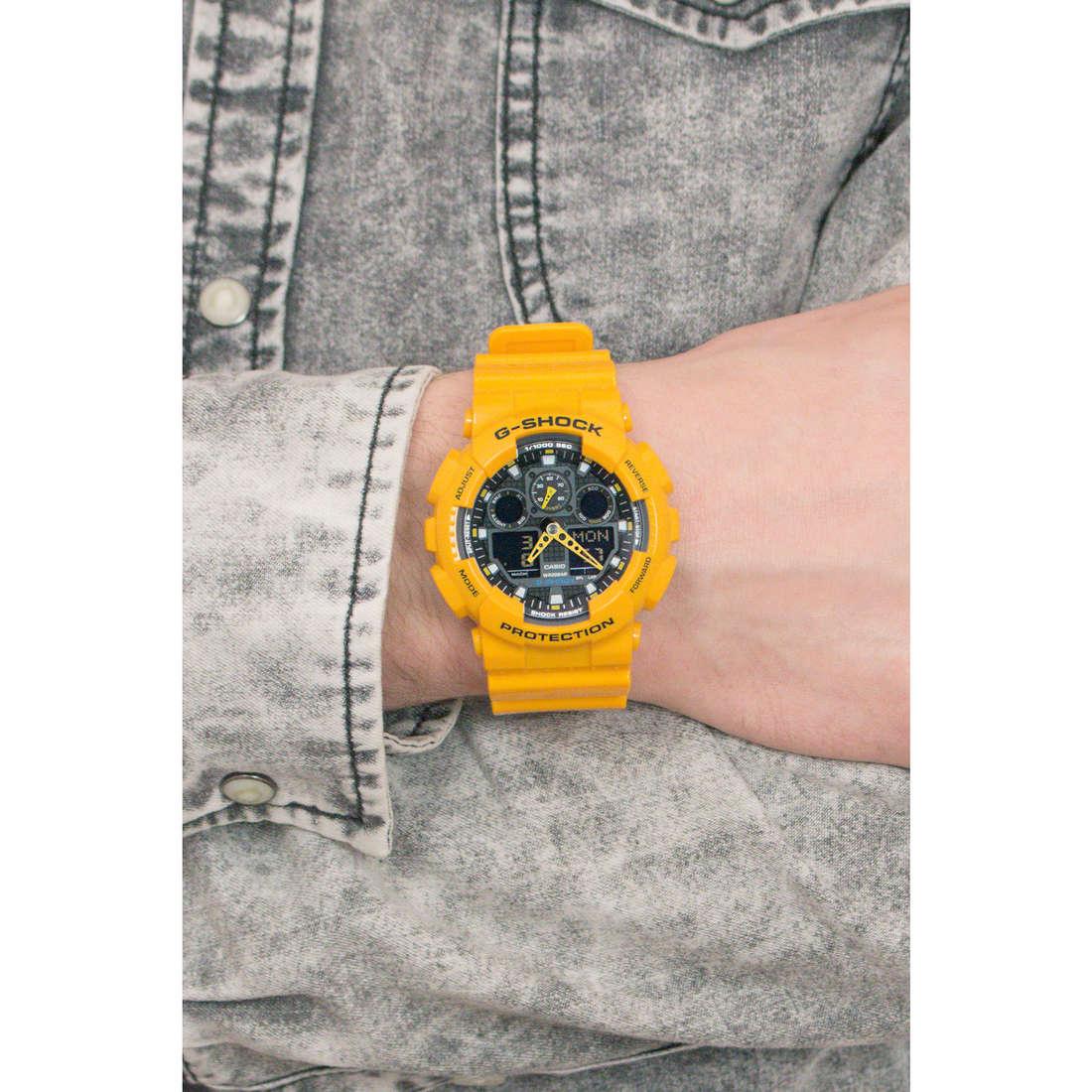 Casio digitali G-Shock uomo GA-100A-9AER indosso