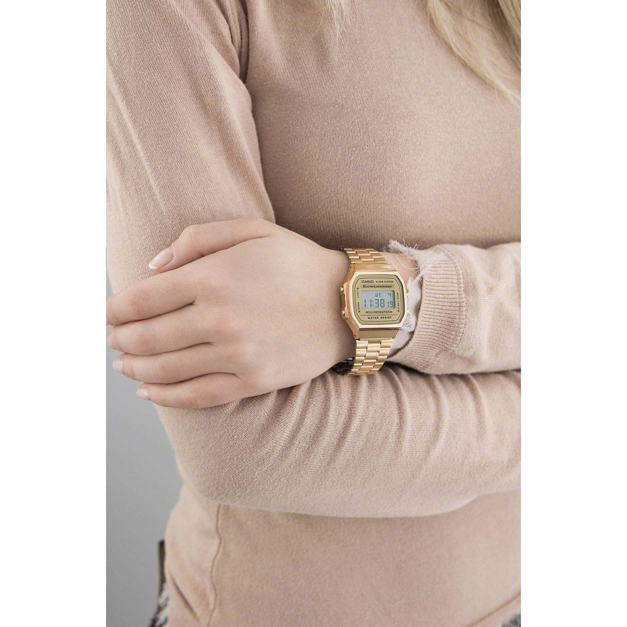 9c91e6c790bd ... Vintage in acciaio inox Dorato. Orologio Digitale Unisex Casio Casio  Collection A168WG