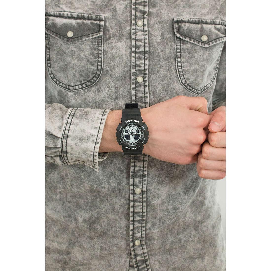 Casio digitali G-Shock uomo GA-100BW-1AER indosso