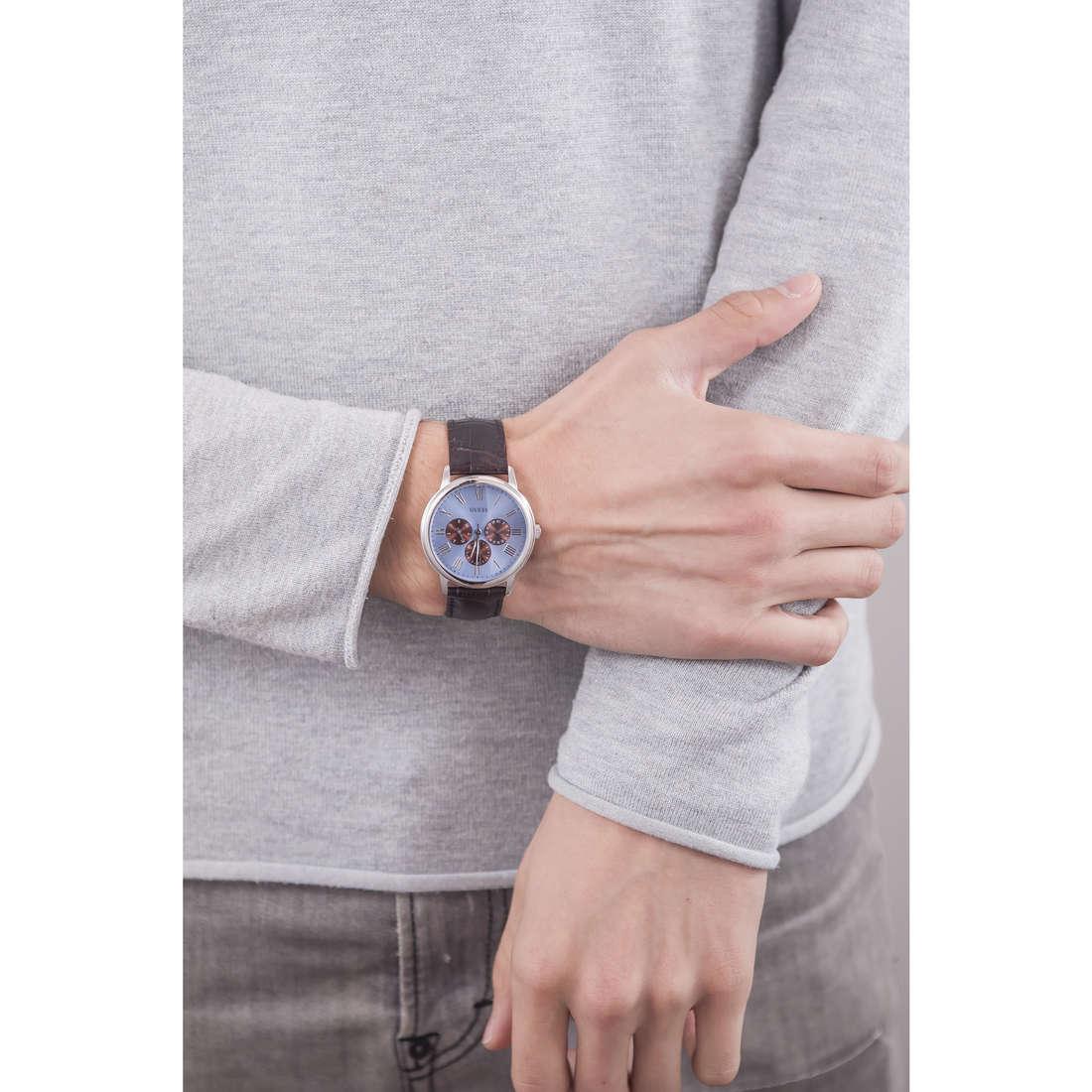 Guess multifunzione Ice Blue uomo W0496G2 indosso