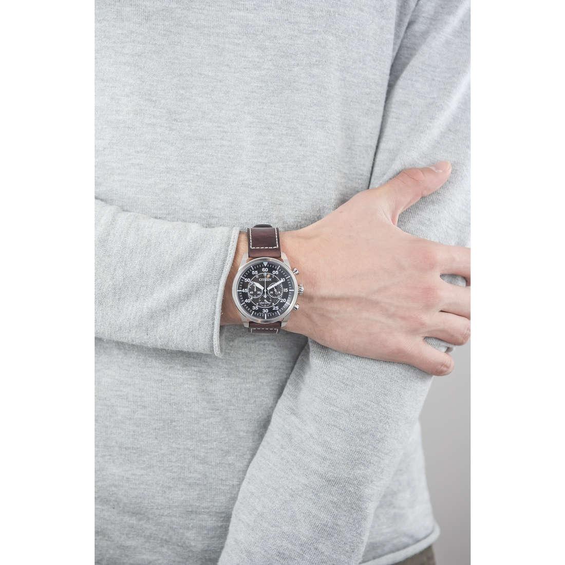 Citizen chronographs Eco-Drive man CA4210-16E indosso