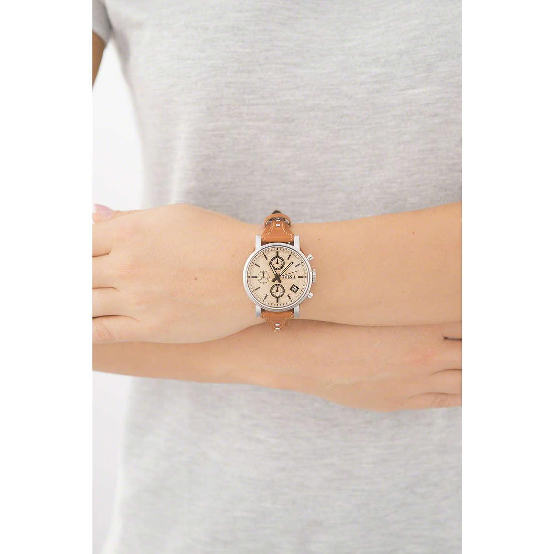 Fossil chronographs Perfect Boyfriend woman ES3837 indosso