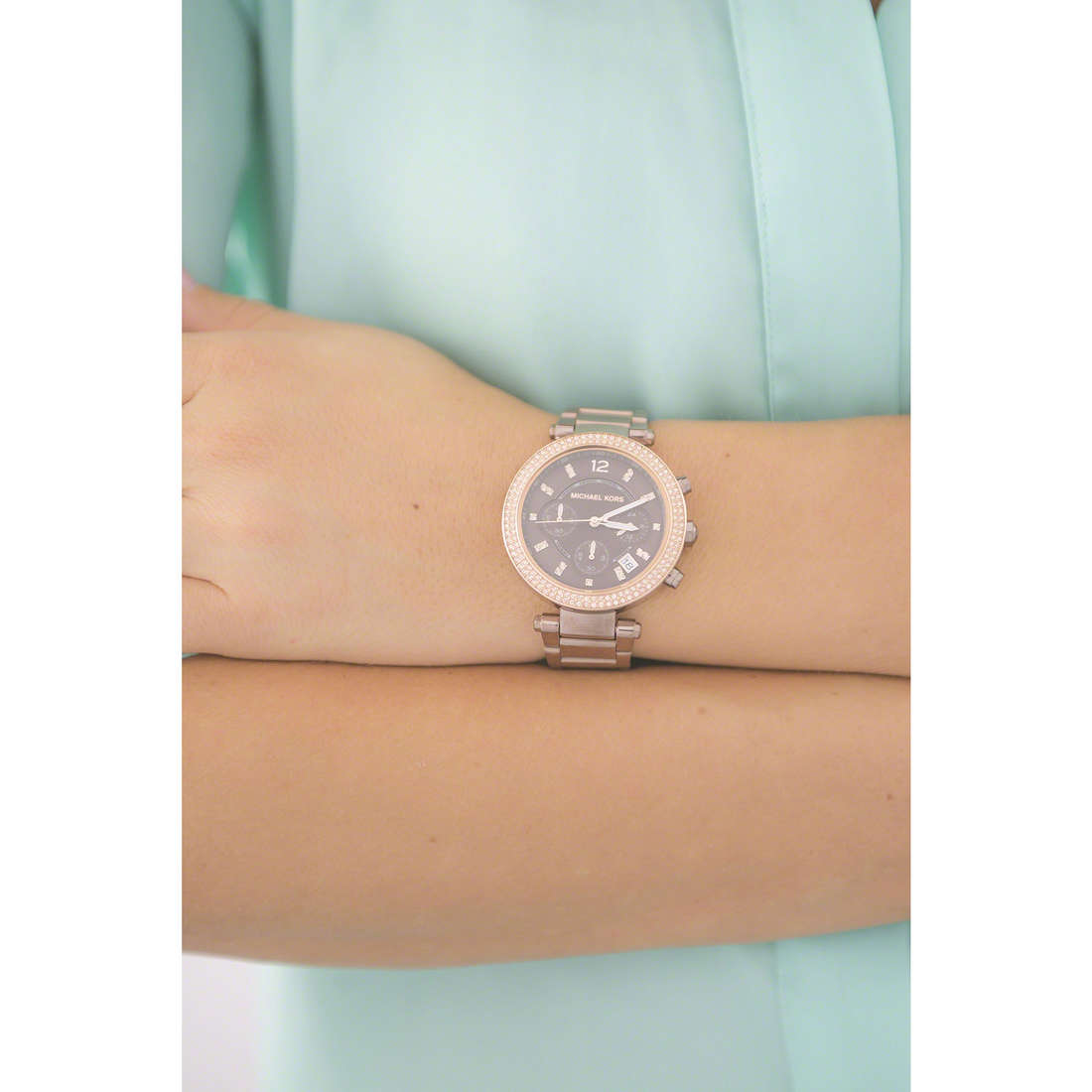 Michael Kors chronographs woman MK6378 indosso