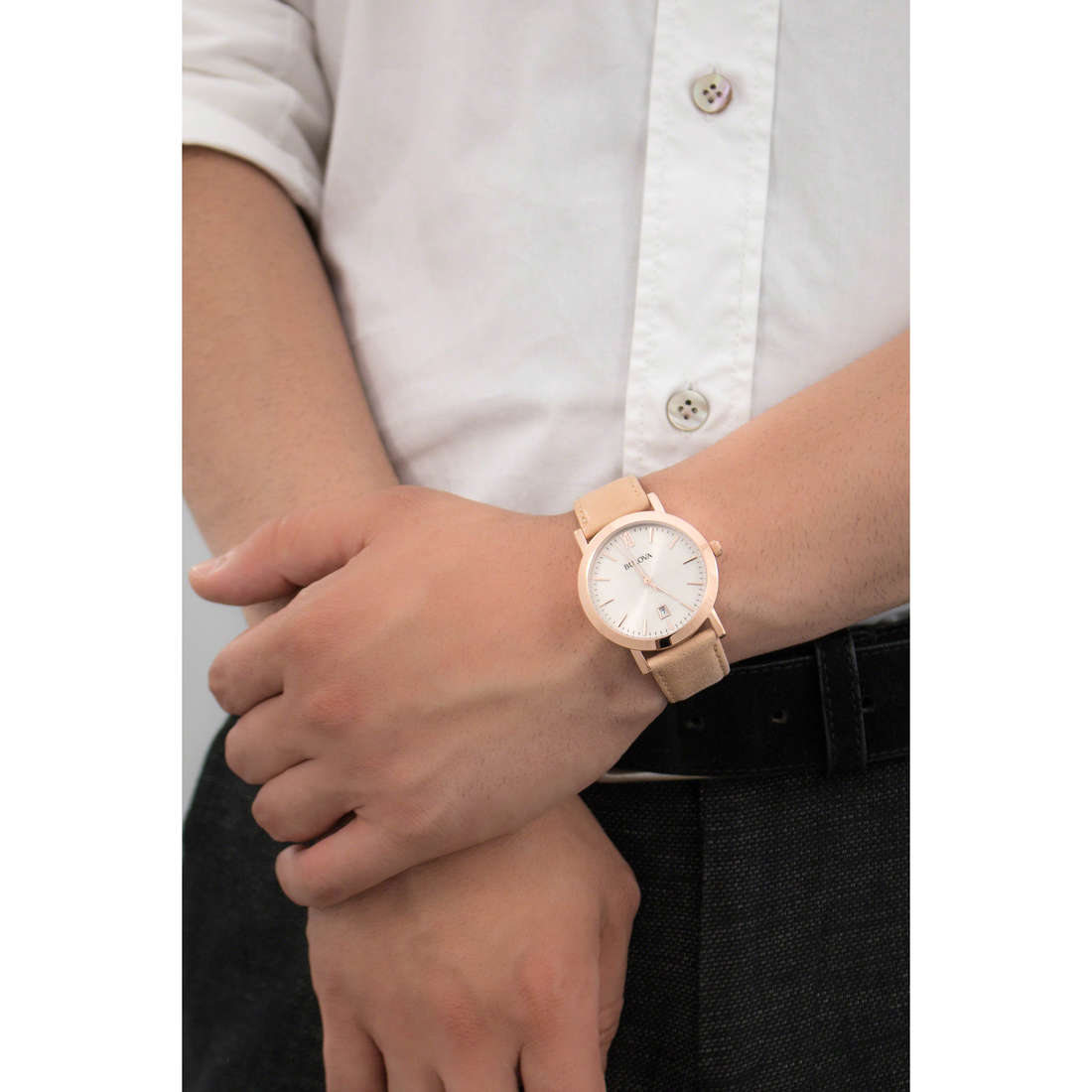 Bulova only time Dress man 97B144 indosso