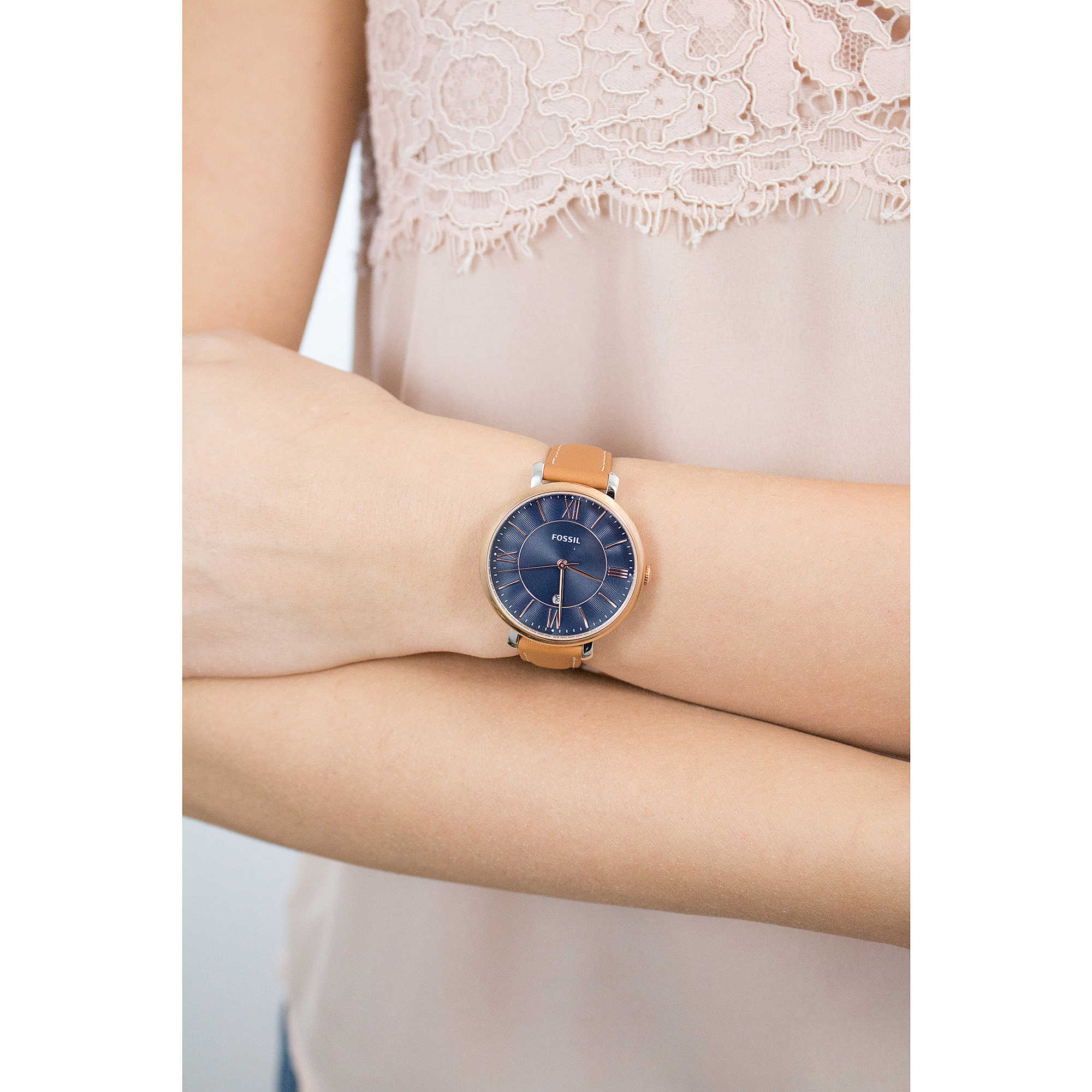 women jacqueline watches fashion navy watch p photo s promotion leather fossil