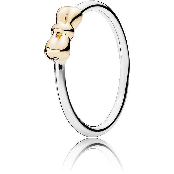 anello fiocco pandora oro
