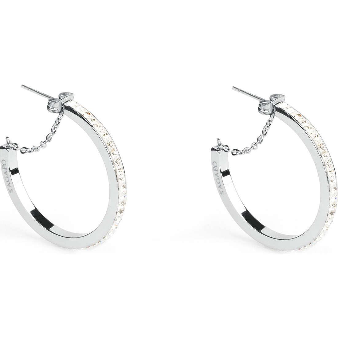 boucles d'oreille femme bijoux Sagapò Crystal ring SCR20