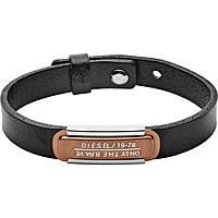 bracciale uomo gioielli Diesel Leather/Steel DX1092040