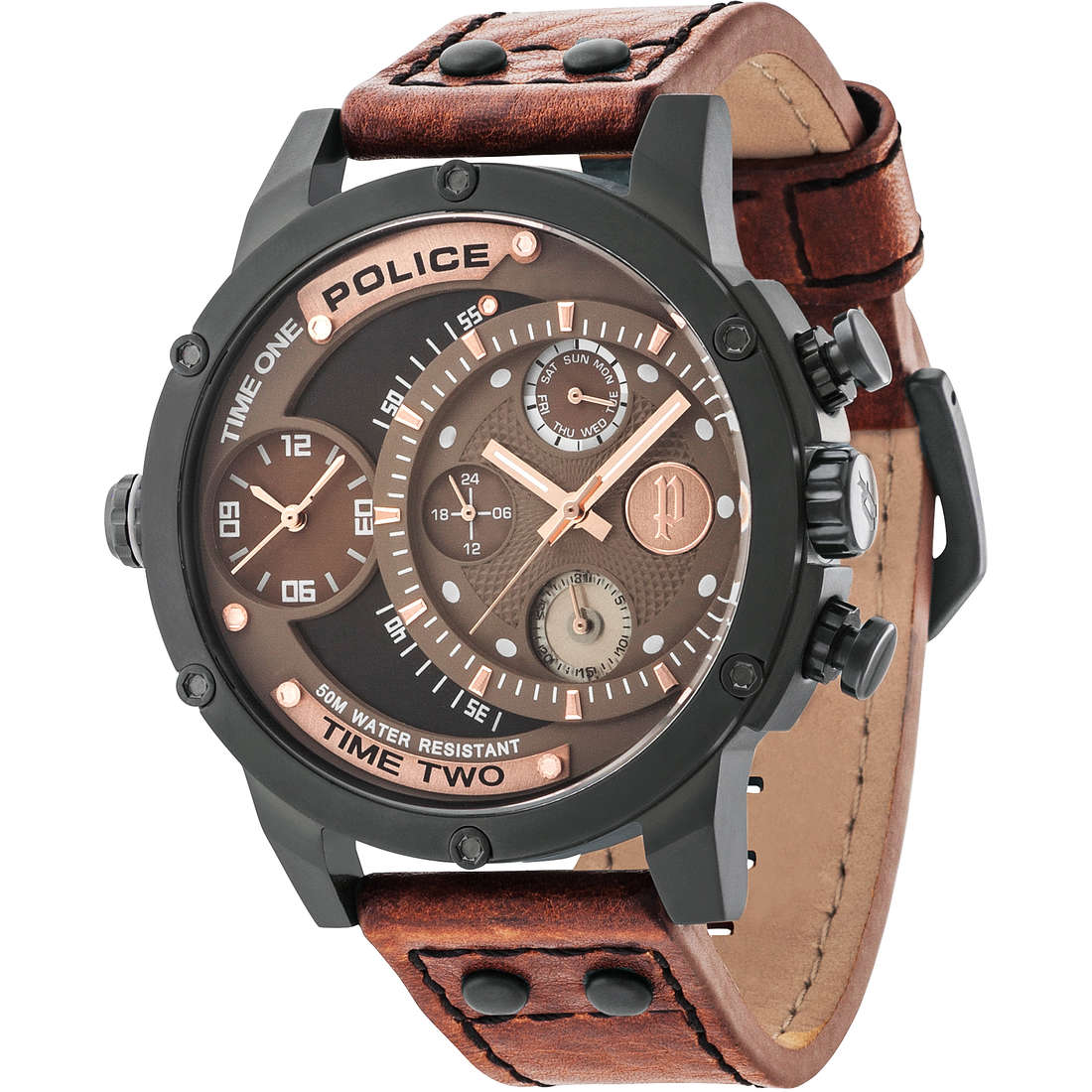 montre dual time homme Police Adder R1451253001