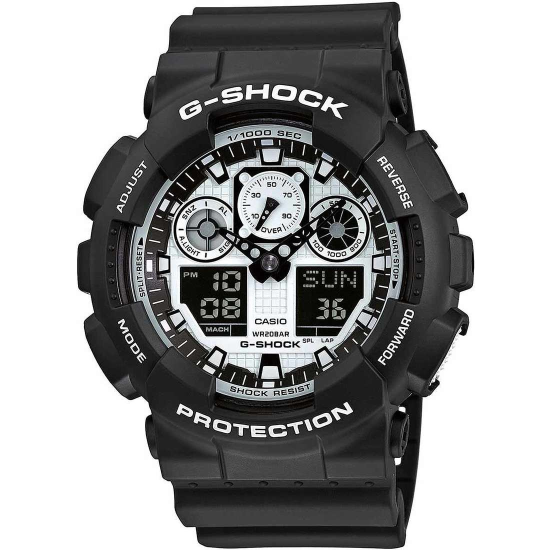 montre multifonction homme Casio G-Shock GA-100BW-1AER