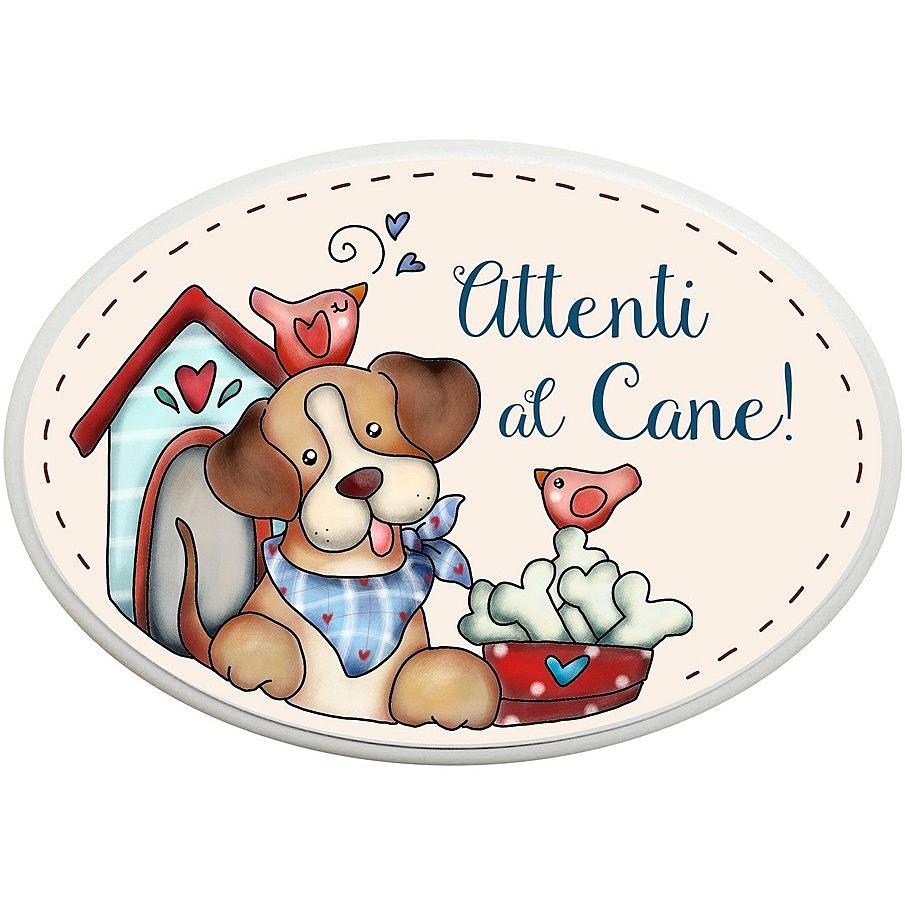 made in Italy targhetta ovale attenti al cane idea regalo artigianato italiano