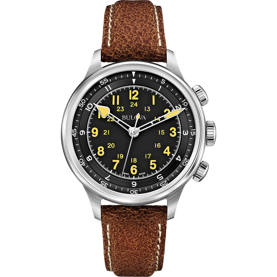 watch only time man Bulova Accu Swiss Military Vintage 63A119